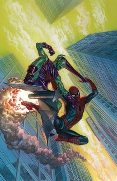 Spider-Man vs. Green Goblin by Alex Ross #AlexRoss #SpiderMan #Avengers #PeterParker #DailyBugle #WebSlinger #NewYorkCity #GreenGoblin #NormanOsborn #HarryOsborn #GoblinGlider