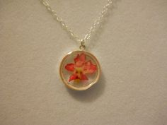 15mm Fine Silver Pink Dried Flower Resin by PaisleysandPortraits