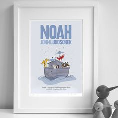 Personalised Boy's 'Noah's Ark' Print by Jenkini - childrens personalised art, the perfect gift for Explore more unique gifts in our curated marketplace. Simple Gifts, Unique Gifts, Name Day, All Print, Ark, Personalized Gifts, Art Pieces, Sketches, Gift Wrapping