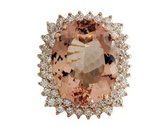 14K Rose Gold Morganite Diamond Ring Size 7