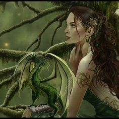 Forest Nymph and her dragon