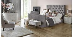 Impulse bed in Silver or pearl Tv In Bedroom, Bedroom Decor, Bedroom Ideas, Master Bedrooms, Bed Room, Master Suite, Tv Bed Frame, Tv Beds, Super King Size Bed