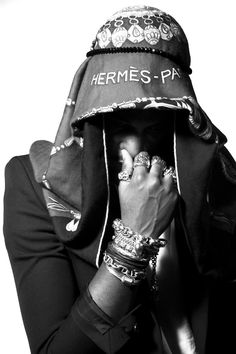 Current Inspiration: ASAP Rocky with a Hermes scarf ,bracelets & rings