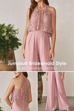 Jasmine Bridal JB Jumpsuit Bridesmaid Style Jas - Jumpsuits and Romper Jumpsuit Hijab, Wedding Jumpsuit, Halter Jumpsuit, Jumpsuit Outfit, Gold Bridesmaid Dresses, Bridesmaid Outfit, Wedding Bridesmaids, Bridal Dresses, Hijab Dress Party