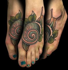 Lovely snail foot tattoo by artist Myra Brodsky.
