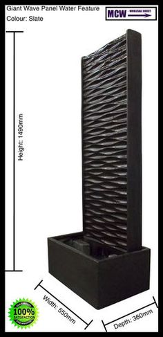 Fountain, Water Feature: Giant Wave Panel Water Feature - Slate:   Dimensions: 1490mm (h) x 550mm (w) x 360mm (d) Weight:  Approx. 70kg's  Water Pump:  Fully submersible indoor/outdoor use,  240v, 50Hz, 20Watts, 1200 Litres per hour, 10 metre indoor/outdoor cable
