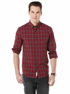 LONG SLEEVE RED WINDOW PANE CHECKED SHIRT
