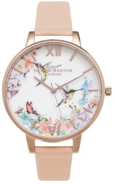 OLIVIA BURTON 'Painterly Prints' Leather Strap Watch, 38mm
