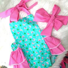Girls flamingo romper- flamingo first birthday party- flamingo party outfit