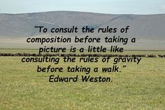 This weeks photography quote comes from Edward Weston: