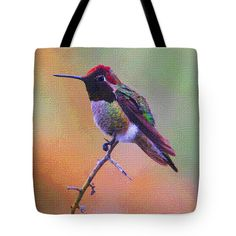 Hummingbird Tote Bag by Tom Janca.  The tote bag is machine washable, available in three different sizes, and includes a black strap for easy carrying on your shoulder.  All totes are available for worldwide shipping and include a money-back guarantee.