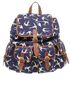asos bird print rucksack