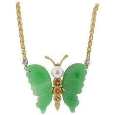 Buccellati Jade Pearl Citrine Gold Butterfly Necklace (112 595 ZAR) ❤ liked on Polyvore featuring jewelry, necklaces, green, 18k gold necklace, pearl necklaces, long necklace, gold pendant necklace and pearl pendant necklace