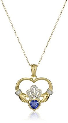 18k Yellow Gold and Rhodium Plated Sterling Silver Created Blue Sapphire Heart Shaped Claddagh Pendant Necklace 18 >>> Details can be found by clicking on the image.