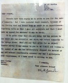 Ghandi's letter to Adolf Hitler (1939)