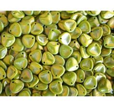 50pcs Rose Petal 7x8mm Pressed Czech Glass Beads Opaque Olive Iris