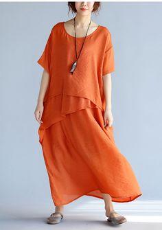New orange long linen dresses plus size clothing layered cotton dresses New short sleeve linen cotton dress - maxi dress - Summer Dresses Long Linen Dresses, Cotton Dresses, Loose Dresses, Floral Dresses, Half Sleeve Dresses, Dresses With Sleeves, Modest Maxi Dress, Online Shops, Maxi Robes