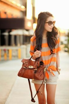 Gorgeous tangelo and grey stripes cute haf sleeveless blouse and light grey skirt short and brown leather hand bag and golden watch Fashion Moda, Cute Fashion, Look Fashion, Fashion Outfits, Womens Fashion, Fashion Shorts, Fashion Blogs, Fashion News, Fashion Trends