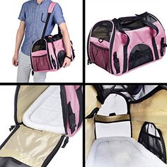 Large Pet Carrier OxFord Soft Sided CatDog Comfort Travel Tote Shoulder Bag pink -- Continue to the product at the image link.