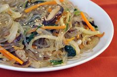Vegetarian Chap Chae (Korean Noodles With Vegetables)