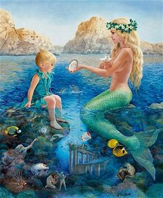 "Mermaid Ocean Sea: ""Song of the Sea,"" by Lynn Lupetti. Fantasy Mermaids, Unicorns And Mermaids, Mermaids And Mermen, Real Mermaids, Fantasy Creatures, Mythical Creatures, Sea Creatures, Share Pictures, Song Of The Sea"