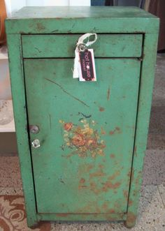 Vintage Shabby Metal Cabinet from Hot House Market #hothousemarket #vintage #shabby www.hothousemarket.com