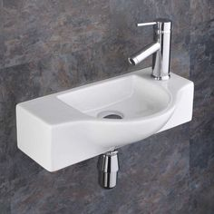 Perfect for the smaller ensuite or cloakroom. The Viterbo Space Saving Ceramic Wash Basin Sink is a solid all round contemporary addition to any room. Cloakroom Sink, Small Bathroom Sinks, Small Sink, Tiny Bathrooms, Tiny House Bathroom, Bathroom Basin, Basin Sink, Bathroom Ideas, Cloakroom Ideas