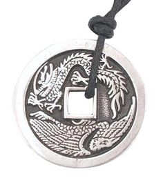 Chinese Money Dragon Pewter Pendant Necklace