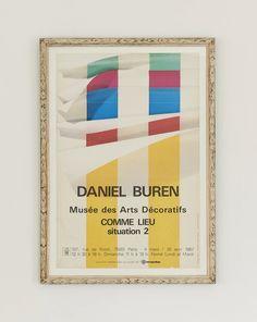 Daniel Buren Exhibition Poster 1987 – hellethygesen.com Daniel Buren, Antique Frames, Exhibition Poster, Poster Making, Paris, Christian, France, Antiques, Posters