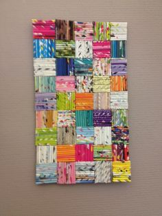 COLORFUL shiny wall art- constituted of recycled magazines, 10 i.- COLORFUL shiny wall art- constituted of recycled magazines, 10 inch sq. Recycled Magazine Crafts, Recycled Paper Crafts, Recycled Art Projects, Recycled Magazines, Newspaper Crafts, Art From Recycled Materials, Unique Art Projects, Craft Projects, Art Diy