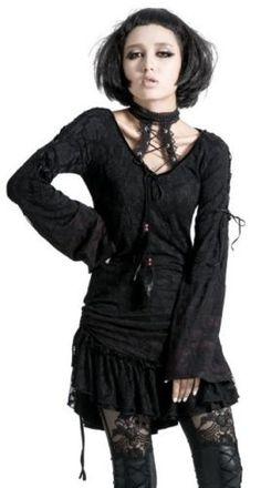 Punk-Rave-Gothic-Shirt-Choker-Tunika-Rot-Long-Steampunk-Boho-Kleid-Dress-T300