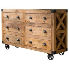 """59"""" Rustic Cabinet with Wheels at Woodstock Furniture Outlet"""