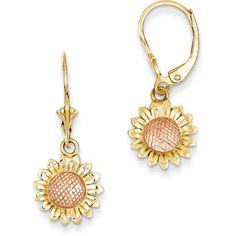 14k Two Tone Gold Polished Sunflower Dangle Leverback Earrings ($122) ❤ liked on Polyvore featuring jewelry, earrings, gold, two tone jewelry, yellow gold earrings, 14k jewelry, 14k gold jewelry and sunflower earrings
