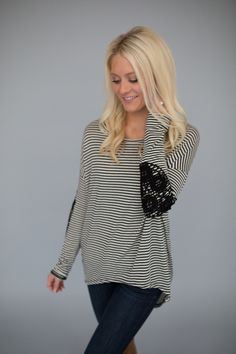 Magnolia Boutique Indianapolis - Striped Crochet Elbow Patch Top-Black, $36.00 (http://www.indiefashionboutique.com/striped-crochet-elbow-patch-top-black/)