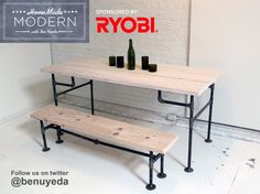 DIY table with iron pipe
