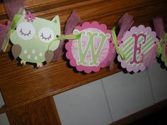 Baby Shower Welcome Baby Banner With Owls and Birdies by PartysOn, $24.00