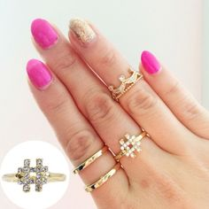 18kt Gold Czech Crystal Hashtag Ring Available in ring size 5, 6, 7 and 8 T&J Designs Jewelry Rings