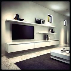 23 Ideas For Living Room Tv Wall Modern Floating Shelves Decorating Ideas Floating Entertainment Unit, Entertainment Room, Floating Tv Unit, Floating Tv Cabinet, Floating Shelves For Tv, Floating Tv Stand Ikea, Ikea Stand, Built In Tv Cabinet, Built In Tv Wall Unit