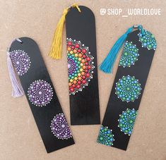 These 3 unique hand-painted bookmarks are leaving to their new home today!So many one of a kind items can be available. if you dont see something you want in the shop please just ask! Mandala Art Lesson, Mandala Artwork, Mandala Painting, Dot Painting Tools, Dot Art Painting, Stone Painting, Painting With Dots, Mandala Painted Rocks, Mandala Rocks
