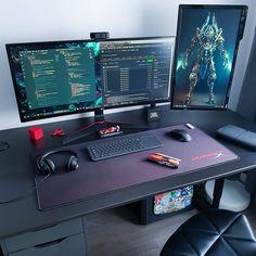 Computer Desk Setup, Gaming Room Setup, Pc Setup, Home Office Setup, Home Office Design, Retail Solutions, Video Game Rooms, Game Room Design, Workspace Design