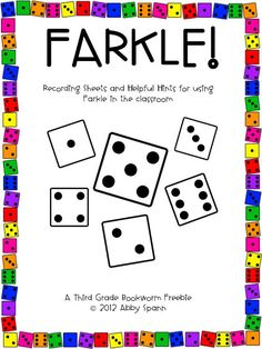 """Farkle!"" is an extra fun way to practice number sense and place value skills with intermediate students. They'll practice adding large numbers and fine tune their computation skills without knowing it! :) I've used this in the classroom as for my early finishers as a sub activity and even in a math summer camp! I can't wait to hear about how you use it with your kids! Grab it right from Teachers Pay Teachers by clicking on any of the images above! There are color and grayscale options…"