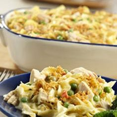 Tuna Noodle Casserole-Classic.   Ingredients 1	can (10¾ ounces) Campbell's® Condensed Cream of Celery Soup (Regular or 98% Fat Free) ½	cup milk 1	cup Birds Eye® Sweet Garden Peas 2	tablespoons chopped pimientos 2	cans (about 6 ounces each) tuna, drained 2	cups medium egg noodles, cooked and drained 2	tablespoons dry bread crumbs 1	tablespoon butter, melted