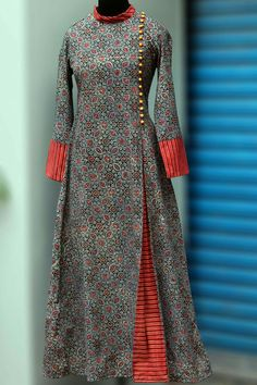 Buy Maati Crafts Multicolored Cotton Printed Angrakha Anarkali Kurti online in India at best price. a stunning mughal styled high collar dress in ajrakh print & fabric potli buttons! black as a natura Kurti Neck Designs, Kurta Designs Women, Dress Neck Designs, Kurti Designs Party Wear, Blouse Designs, Printed Kurti Designs, Abaya Fashion, Indian Fashion, Fashion Dresses