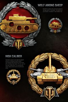 Achievements are awarded to players for exceptional performance in battle. Medals and titles are attached to the player's own statistics as well as individually for tanks and crew members. To see your own achievements, simply go to the statistics in game … Medan, Game Icon Design, Red Mars, Military Insignia, Colossal Art, Mundo Comic, World Of Tanks, Weapon Concept Art, Game Logo