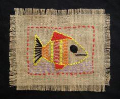 TeachKidsArt: Burlap Stitching Project