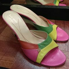 Kate Spade wedge size 8 Orange,green,yellow and pink leather wedge style heel from Kate Spade new York size8 Shoes Wedges