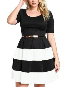 7eb32e2aa88a La Chilly 2017 Plus Size XXXL big size Autumn women Casual clothing Apricot  Stripes Detail Belted Plus Size Skater Dress. Clothes   Fashion
