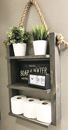 Bathroom Storage Shelf - Rustic Wood & Rope Bathroom Shel...