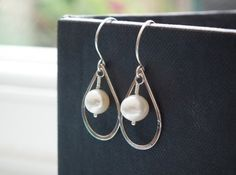 mariée - sterling silver and pearl earrings by RubyTynan on Etsy, £16.99