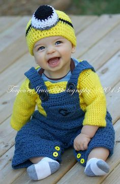 Ravelry: Binion Coveralls with pant/skirt option (the little yellow guys friends) pattern by Colleen Hoke